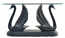 Contemporary Console Table with Carved Swan Base