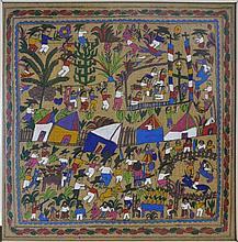 Framed Village Scene Painting On Burlap