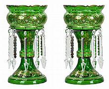 Vintage Green Bohemian Glass Lustre Pair