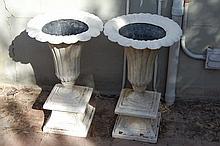 Pair of Resin Trumpet Urns