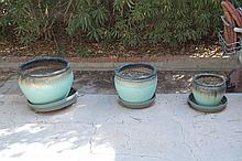Set of 3 Green Glaze Planters