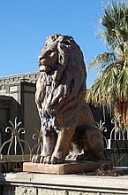 Pair of Impressive Concrete Lion Statues