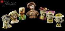 7 Pc. Vintage Porcelain Figural Bust Vase Lot