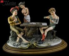 Capodimonte Kids Playing Cards Sculpture