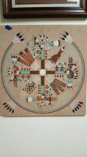 Navajo Sand Painting By Navajo Artist Lorraine Akee Of Whirling Log And Kachinas Wear Around The Edges Still A Nice Piece Measures 24 Inches By 24 Inches Has All The Artists Information On The Back And Tells The Story About The Whirling Log