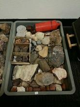 Rock Collector Lot Including Fossils Dinosaur Bone? Mineral Specimens Petrified Wood And Agate Along With The Vintage Orange Powder Can