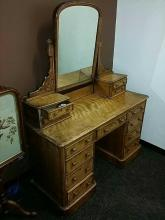 13 Drawer Vintage To Antique Vanity Dresser With Tilting Mirror