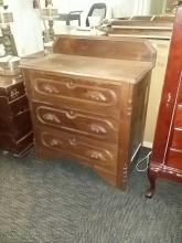 3 Drawer Carved Wood Dresser