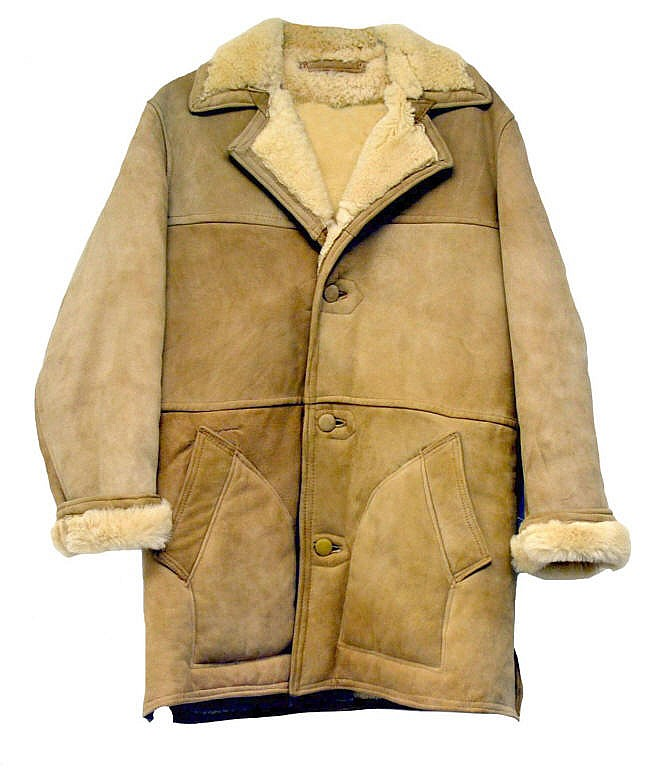 Leather coat, fur lined.