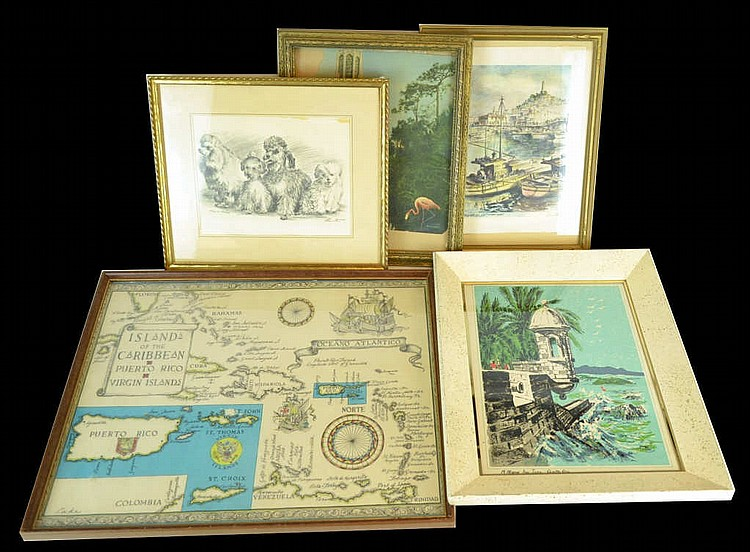 Lot of 5 prints & frames.