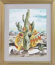Harold Laynor (1922-1991) Cactus Watercolor #2