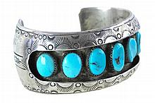 Artist Signed Sterling Silver Turquoise Cuff