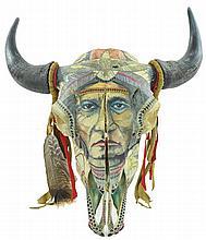 John Doherty Native American Decorated Cow Skull