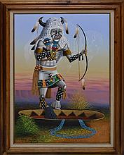 Native American Kachina Oil Painting Signed Black