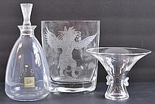 Decanter, Bowl & Vase Glassware Trio W/ Lalique