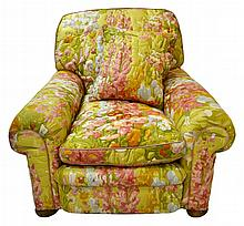 Floral Upholstered Armchair and Pillow