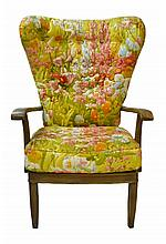 Floral Upholstered Wing Chair, Grain Painted Wood