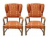 Pair of Upholstered Armchairs, Grain Painted Wood