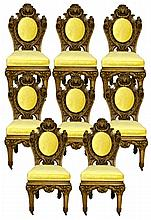Set of 8 Antique Carved Oak Chairs w/ Brass Feet