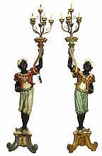 Pair of Vintage Blackamoor Figural Floor Lamps