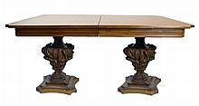 Double Carved Wood Pedestal Base Table