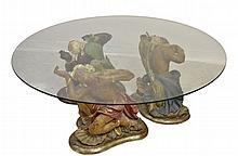 Vintage  Polychrome Blackamoor 3 Figure Table