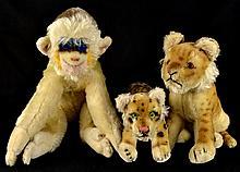 3 Stuffed Animals: Mungo Monkey, Two Leopards