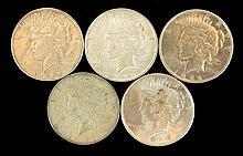5 Circulated Peace Silver Dollar