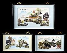 3 Mixed Media Chinese Art Wall Hangings