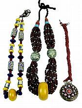 3 Pc African Trade Bead Necklace Copal Millefiori