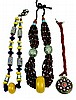 3 Pc African Trade Bead Necklace Copal Millefiori