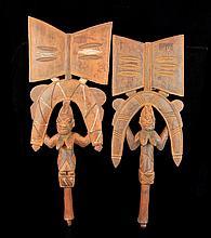 PAIR Yoruba Carved Wood Oshe Shango Dance Wand
