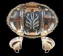 Silver Plate Meat Tray w/ Lidded Vegetable Wells
