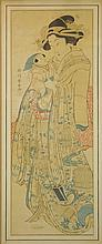 Vintage Framed Japanese Scroll, Mother and Child