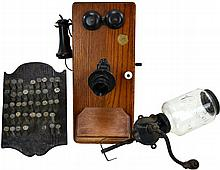 Antique Wooden Phone, Coffee Grinder, RR #'d Nails