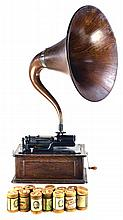 Antique Edison Triumph Phonograph, Cygnet Oak Horn