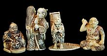 (4) Pcs. Japanese Carved Ivory Netsuke Lot