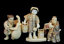 (3) Pcs Japanese Carved Ivory Figure & Netsuke Lot