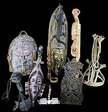 11 Pcs. Carved Wooden Masks, Headdress, Textiles