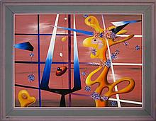 Harold Laynor (1922-1991) Abstract Mid-Century Oil Painting