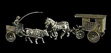 2 Sterling Silver Miniature: Ox & Cart, Horses & Wagon