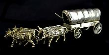 Sterling Silver Miniature Oxen & Wagon