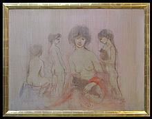 Edna Hibel Signed Painting: Four Nudes with Cats