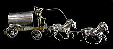 Sterling Silver Miniature Horse Drawn Covered Wagon