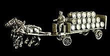 Sterling Silver Miniature Horse-Drawn Barrel Wagon