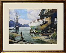 George Richards Watercolor, Dry Dock, New England