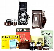 Rolleiflex Camera w/ Lenses, Case, Guide #1