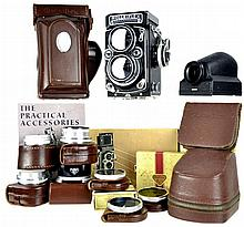 Rolleiflex Camera w/ Lenses, Case, Guides #2