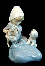 Lladro Porcelain Figure 5032 - Dog & Cat
