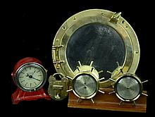 Brass HMS Lock, Port Hole Mirror, Barometer Thermometer, & Kodak Timer